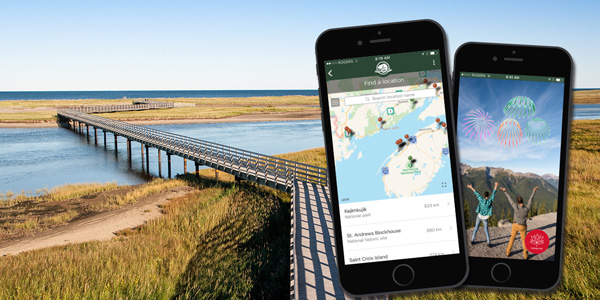 Sample screenshots of the Parks Canada app.